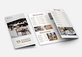 简洁清新西餐咖啡厅菜单宣传三折页图片