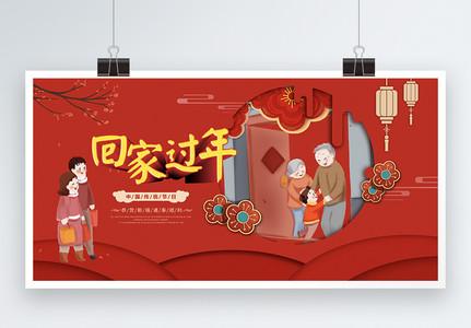 温馨红色回家过年节日展板图片
