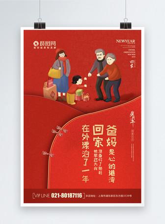 红色大气新年祝福海报
