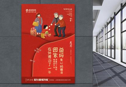 红色大气新年祝福海报图片