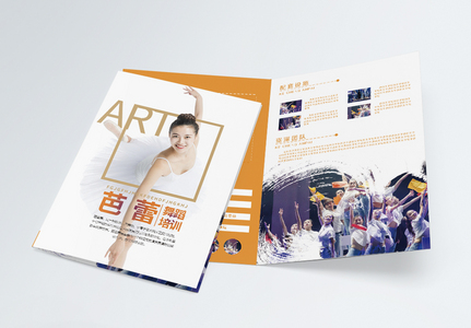 大气艺术芭蕾舞蹈培训宣传二折页图片