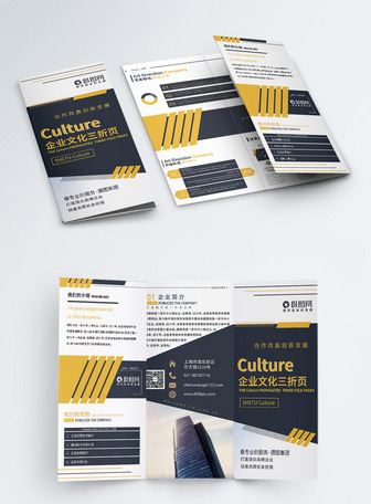 简约大气企业文化项目合作公司简介宣传三折页