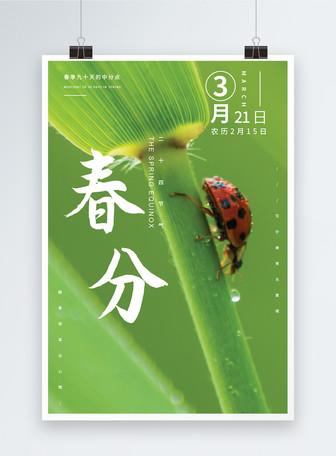 绿色大气二十四节气春分海报