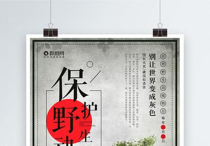 世界野生动植物日海报图片