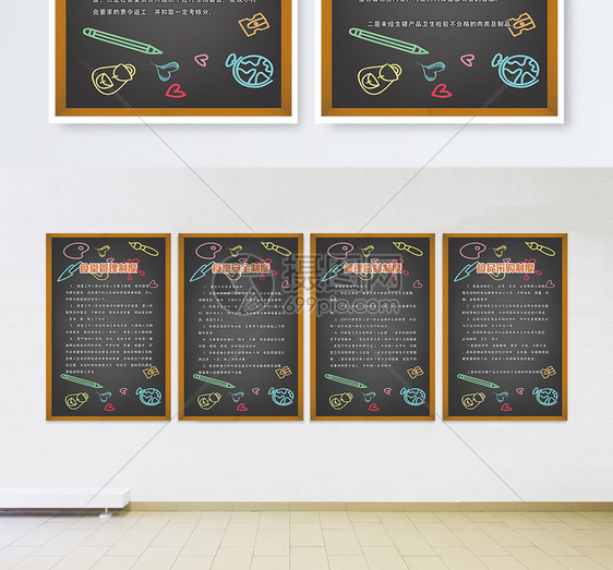 幼儿园食堂管理制度四件套挂画