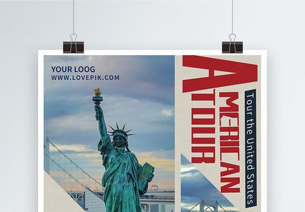 美国风旅游宣传英文海报图片