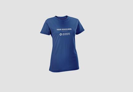蓝色T恤服饰样机图片