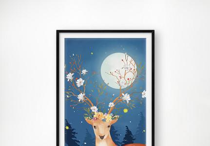 唯美手绘麋鹿单图装饰画图片