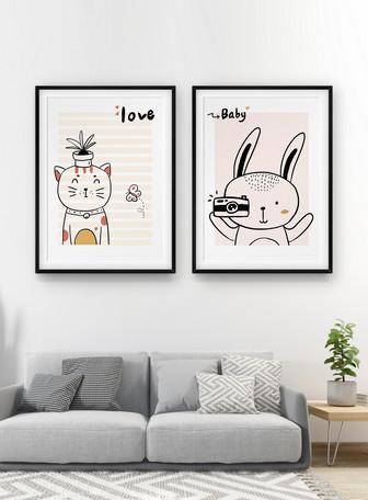 萌系可爱猫咪兔子儿童房装饰画