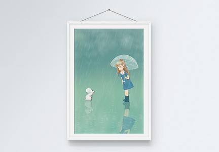 清新安静雨天猫咪女孩挂墙装饰画图片