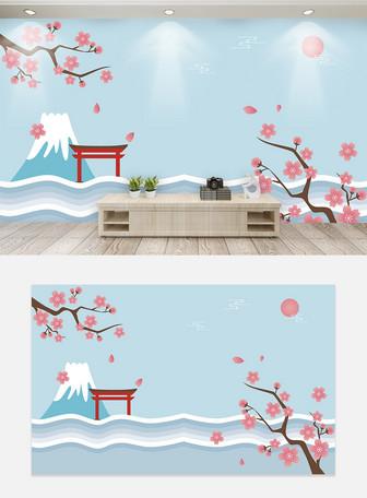 清新日本风景电视背景墙
