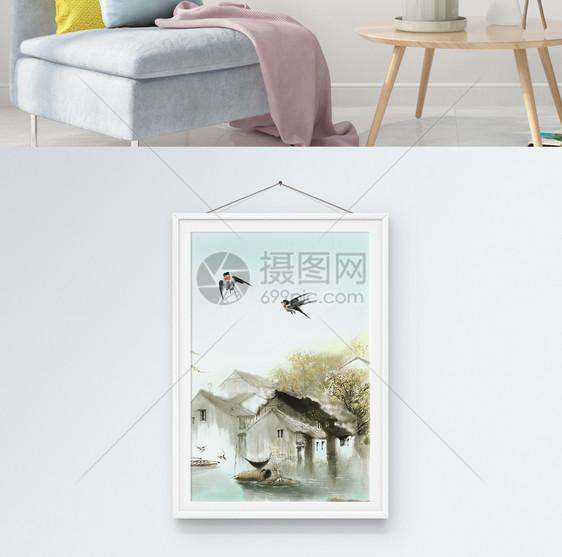春到江南客厅装饰画图片
