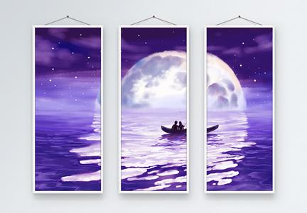 紫色浪漫现代简约三联无框装饰画【修改上传】图片