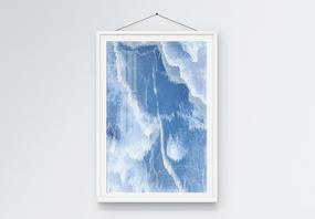 北欧风蓝色创意抽象纹理装饰画图片