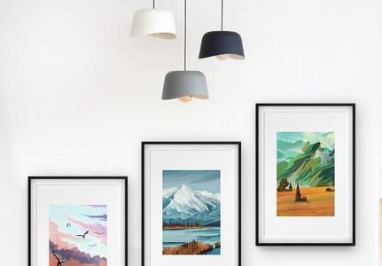 风景油画三联框装饰画图片