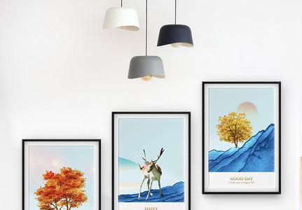 大气唯美现代风三联框装饰画图片