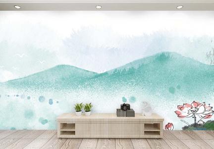荷花池塘水墨背景 客厅背景墙图片
