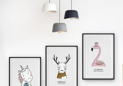 可爱动物萌宠三联框装饰画图片