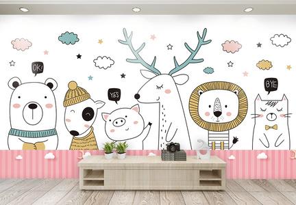 粉嫩公主房卡通动物电视背景墙图片