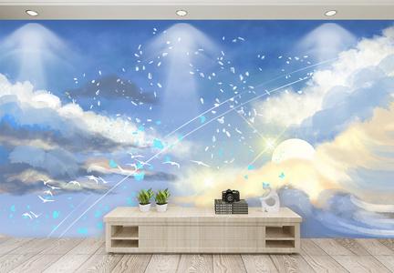 蓝天白云背景客厅背景墙图片