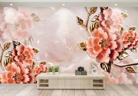 大气现代牡丹花背景墙图片