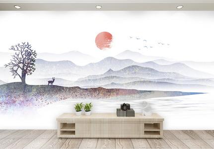 中式山水风景电视背景墙图片