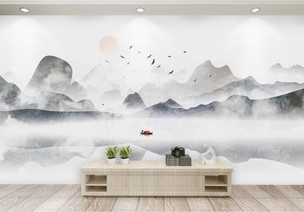 中式水墨山水古典电视背景墙图片