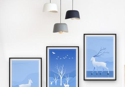 清新蓝现代简约三联框装饰画图片
