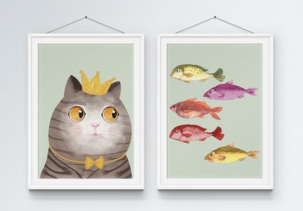 简洁大方时尚简约猫吃鱼女王猫和鱼群装饰画图片