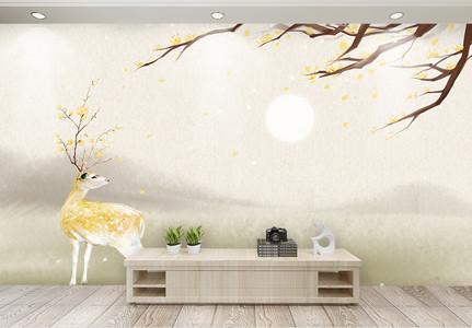 桂花树鹿装饰画图片
