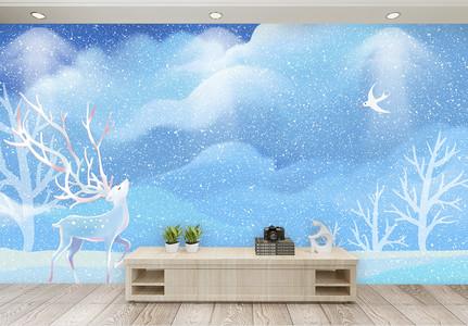 小清新雪景儿童房电视背景墙图片
