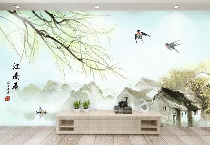 春到江南春天背景墙图片