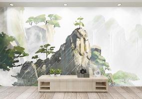 下雨风景山水背景墙图片