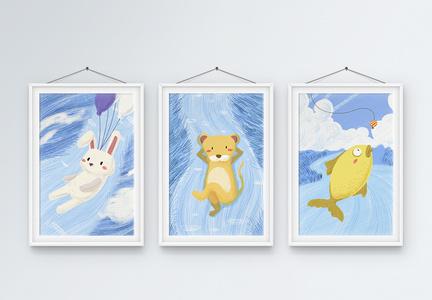 动物插画风装饰画图片