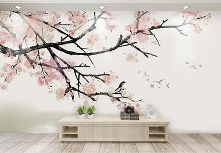 梅花喜鹊背景墙图片