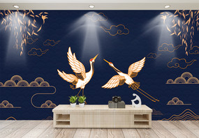 中国风仙鹤背景墙图片