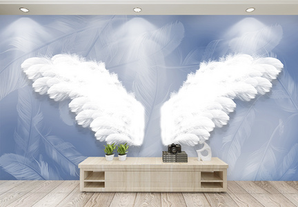 大气白色羽毛翅膀背景墙图片