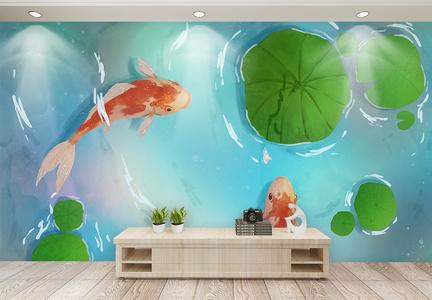 荷花鲤鱼中式背景墙图片