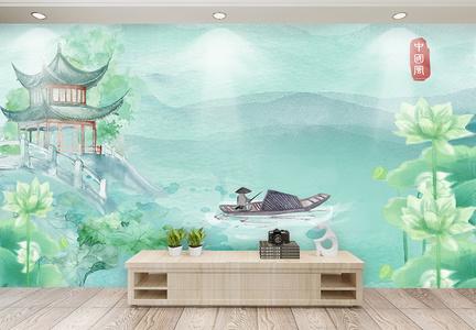 渔翁钓鱼水彩插画背景墙图片