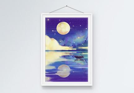 云与月光装饰画图片