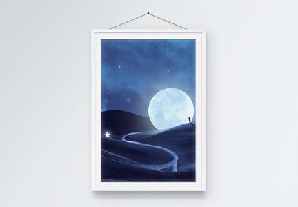 月亮山装饰画图片