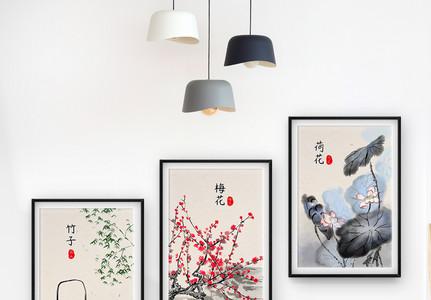 中国风水墨装饰画三联框图片