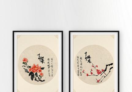 浓墨花卉背景装饰画图片