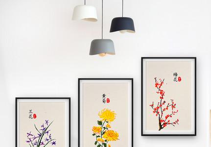 新中式植物客厅装饰画中国风图片
