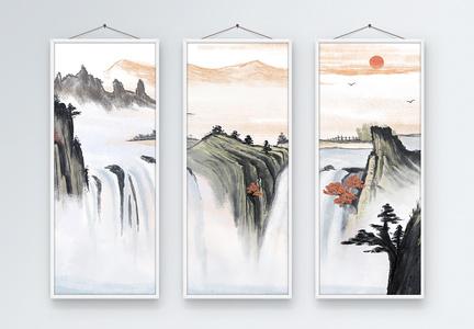 中国风山水画三联无框装饰画图片