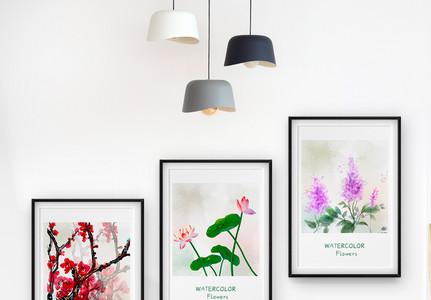 北欧简约花卉植物装饰画三联框图片