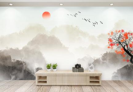 中国水墨风山水背景墙图片