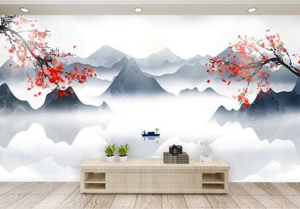 中国风山水客厅背景墙图片