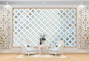 现代翡翠花朵背景墙图片