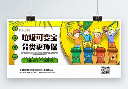 黄色卡通风垃圾分类公益宣传展板图片